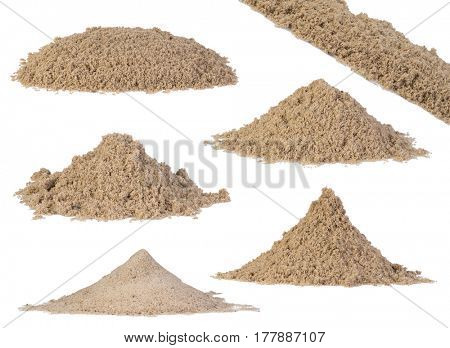 Set of sand piles isolated on white background
