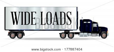 The front end of a large lorry over a white background with Wide Loads inscription