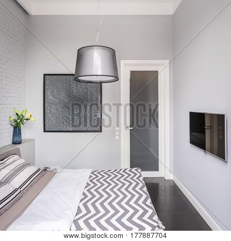 Bright Bedroom With Tv