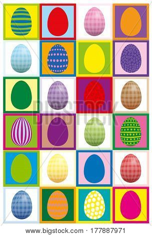 Easter egg concentration game - print it twice on heavy paper, cut it out and play finding pairs.