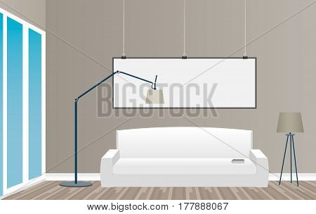 Interior mockup in loft style with empty frame sofa and window. Hipster design concept. Flat vector illustration.