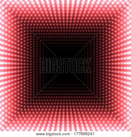 LED mirror abstract square background. Red blazing lights fading to the center. Vector illustration.