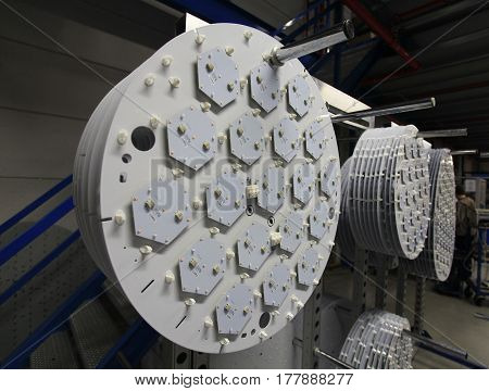 the LED diode lights in manufacturing assembly
