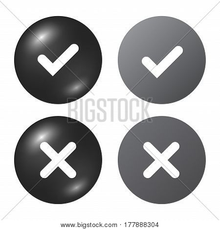Tick Cross Signs Set