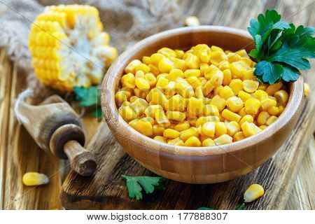 Corn Sweet Corn In A Wooden Bowl.