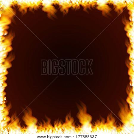 Rectangular frame with text space surrounded with realistic flame isolated on background. Burning fire light effect. Bonfire elements. Gradient mesh vector illustration