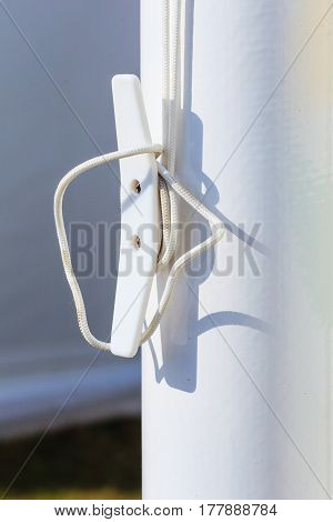 Detailed Closeup Of Rope On Plastic Rook