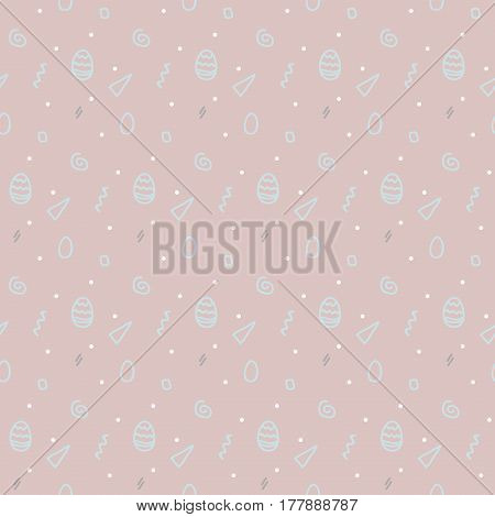 Seamless pattern with Easter eggs in pastel color. Memphis 80's-90's styles. Colorful geometric background, different shapes. Vector illustration