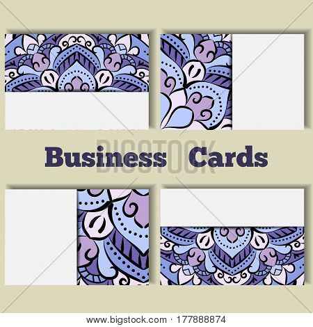 Blue template business cards with oriental pattern and geometric circle element. Vintage decorative mandala pattern. Decorative floral business cards, vector template.
