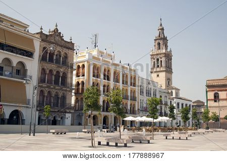 Streets and monuments of Ecija in province of Seville Andalucia Spain