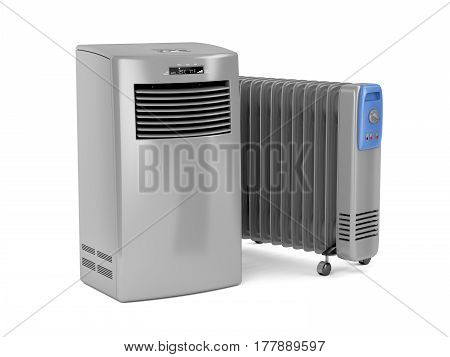Portable air conditioner and oil-filled electric heater on white background, 3D illustration