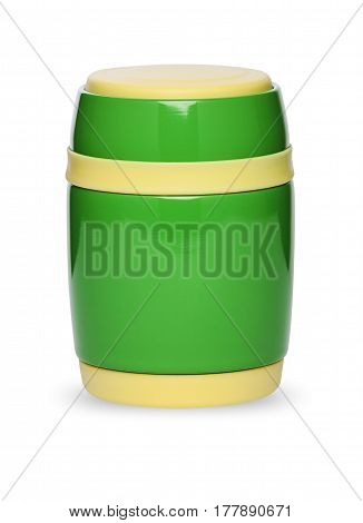 The thermos bottle in different colors isolated on white background