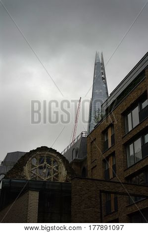 view of the shard in london in england