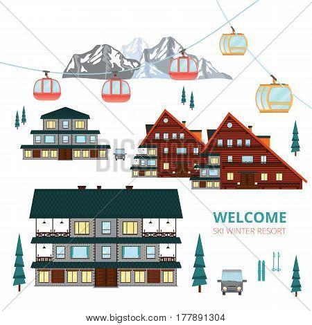 Ski Winter Resort .Wooden houses village .Vector Mountain Landscape .