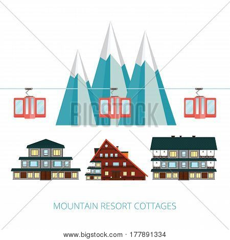 Winter resort banner vector illustration . Wooden cottages  on background snowy mountain landscape . Funicular railway . Ski cable car .