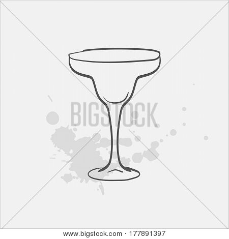 margarita glass welled hand drawn icon - vector illustration