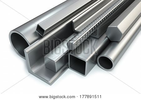 Steel rolled products isolated on white background 3d