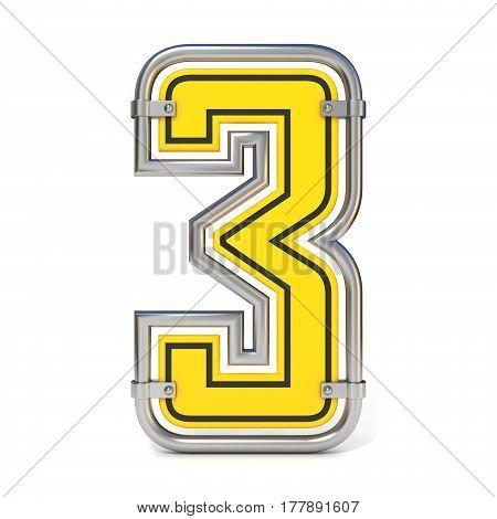 Framed Traffic Road Sign Font Number 3 3D