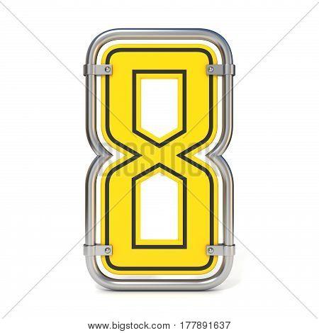 Framed Traffic Road Sign Font Number 8 3D