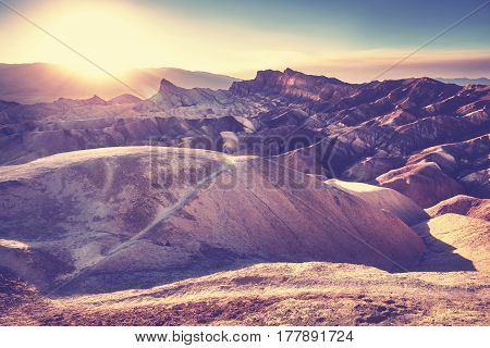 Vintage Stylized Sunset, Death Valley National Park, Usa.