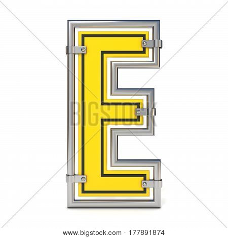 Framed Traffic Road Sign Font Letter E 3D