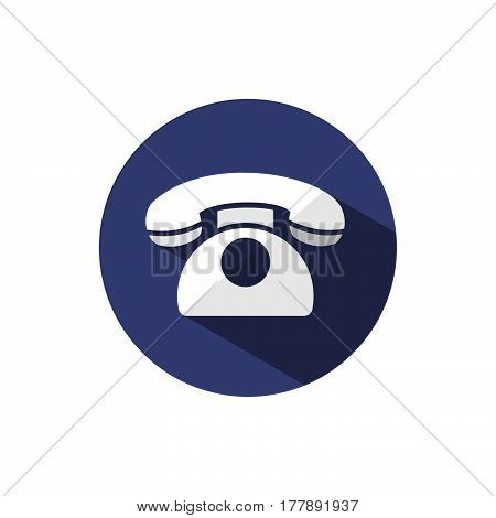 Classic phone icon with shadow on a dark blue circle