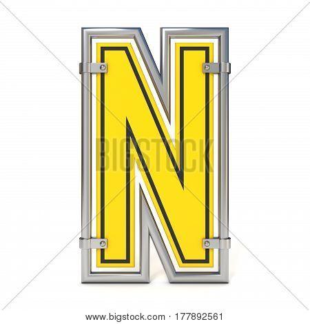 Framed Traffic Road Sign Font Letter N 3D