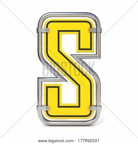 Framed Traffic Road Sign Font Letter S 3D