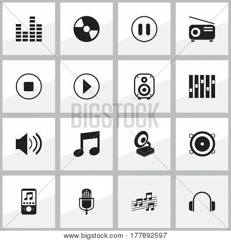 Set Of 16 Editable Audio Icons. Includes Symbols Such As Sound, Bass Speakers, Music Phone And More. Can Be Used For Web, Mobile, UI And Infographic Design.
