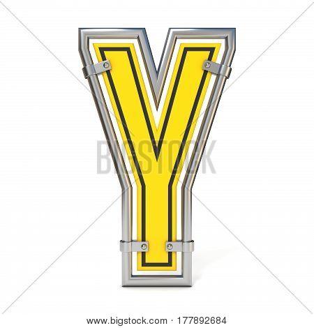 Framed Traffic Road Sign Font Letter Y 3D