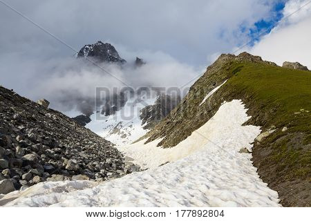 Incredible landscape with high rocky mountains with snowy. Upper Svaneti Georgia Europe.