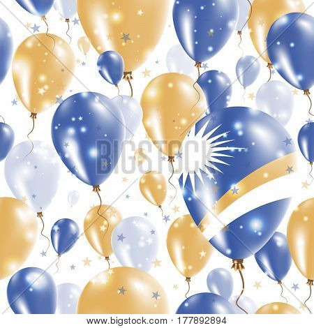 Marshall Islands Independence Day Seamless Pattern. Flying Rubber Balloons In Colors Of The Marshall