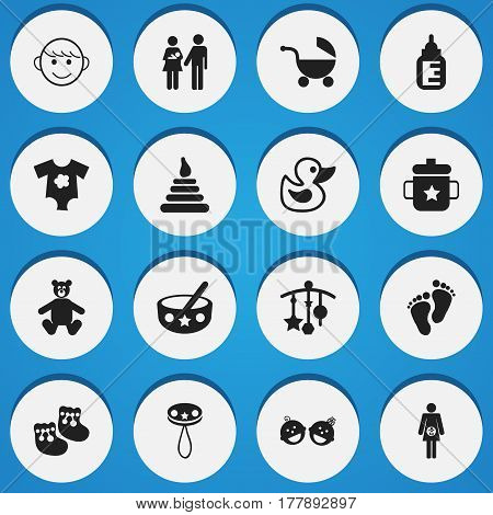 Set Of 16 Editable Baby Icons. Includes Symbols Such As Footmark, Goplet, Small Dresses And More. Can Be Used For Web, Mobile, UI And Infographic Design.