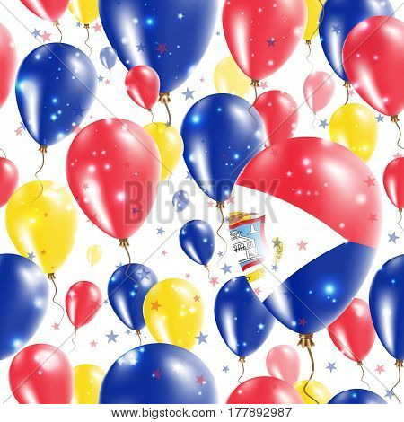 Sint Maarten Independence Day Seamless Pattern. Flying Rubber Balloons In Colors Of The Dutch Flag.