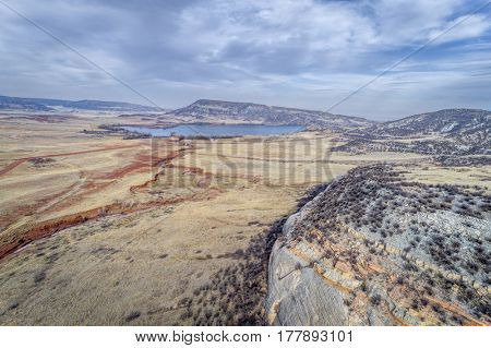 northern Colorado foothills aerial view - Park Creek and Reservoir in early spring