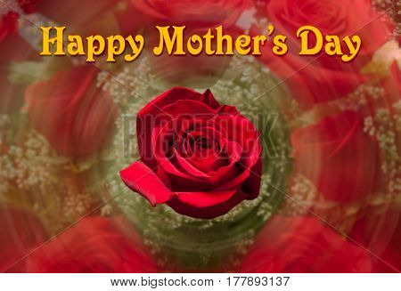 Happy Mother's Day background image with red rose plus swirling rose bouquet in the background