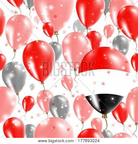 Yemen Independence Day Seamless Pattern. Flying Rubber Balloons In Colors Of The Yemeni Flag. Happy