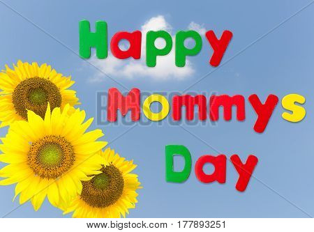Happy Mother's Day blue background image with yellow sunflowers and magnetic childs letters as though made by children