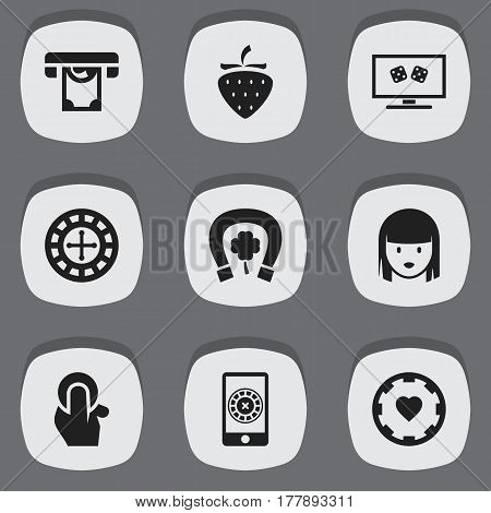 Set Of 9 Editable Excitement Icons. Includes Symbols Such As Fortune, Smartphone Spinner Gaming, Horseshoe With Clover And More. Can Be Used For Web, Mobile, UI And Infographic Design.