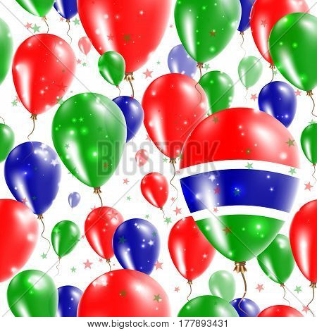 Gambia Independence Day Seamless Pattern. Flying Rubber Balloons In Colors Of The Gambian Flag. Happ