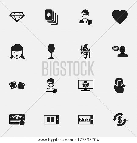 Set Of 16 Editable Game Icons. Includes Symbols Such As Talking, Playing Cards, Phone Game And More. Can Be Used For Web, Mobile, UI And Infographic Design.