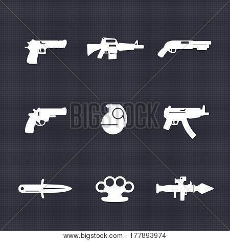weapons icons set, pistol, assault rifle, revolver, shotgun, grenade, submachine gun, knife, rocket launcher