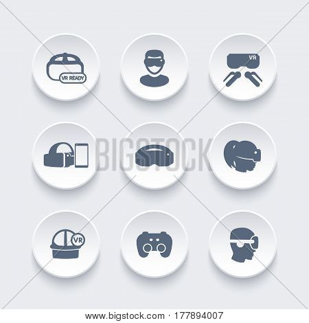 virtual reality, VR icons set, vector illustration