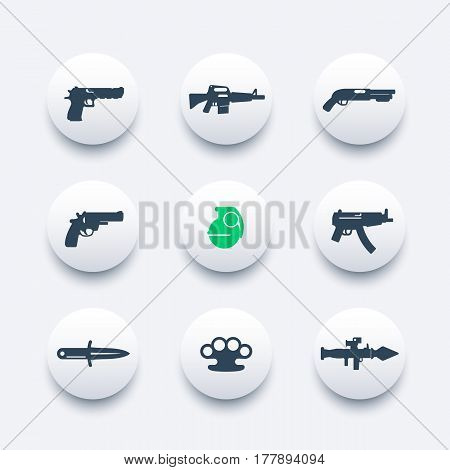 weapons icons set, pistol, rifle, revolver, shotgun, grenade, submachine gun, knife, rocket launcher, firearms pictograms