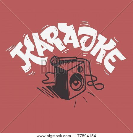 Karaoke Lettering Music Design With A Speaker And A Microphone Illustration. Vector Graphic.