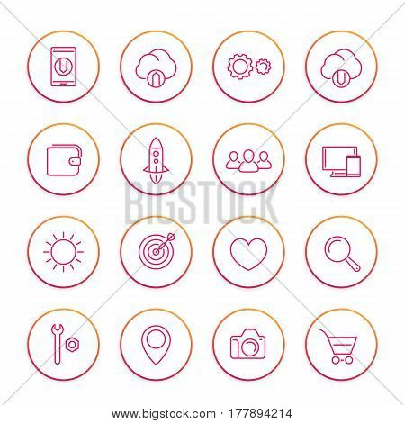 Thin line web icons set, basic interface elements for websites and mobile app