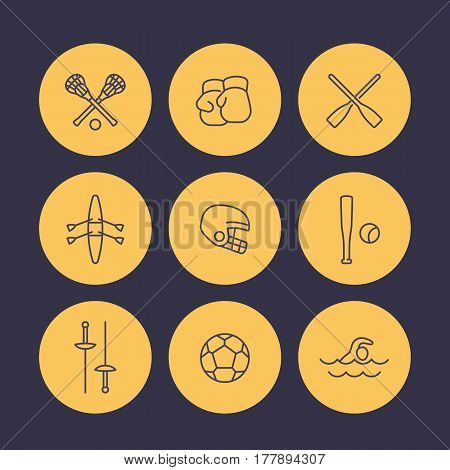 sports and games line icons set, rowing, boxing, fencing, lacrosse, football vector symbols