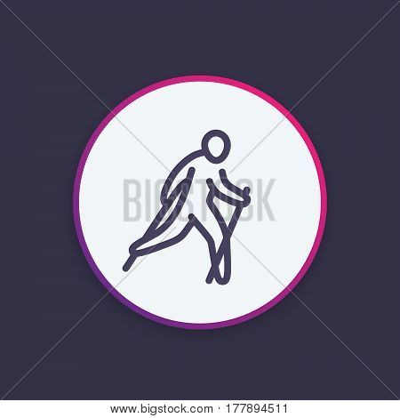 nordic walking icon in linear style, outdoor activity, vector illustration