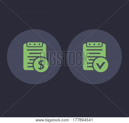 Payroll and bill icons in flat style, vector illustration
