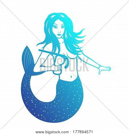 Mermaid with diving mask over white, vector illustration